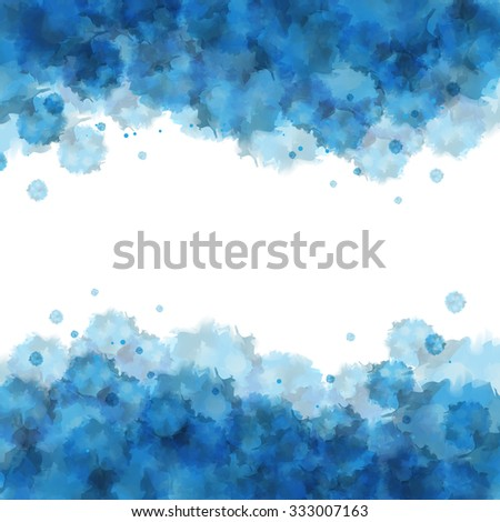 Blue watercolor ink splash background image with space for text in the middle. Backdrop with blue dye paint brush texture. Blue and cyan stain template for designs. - stock photo