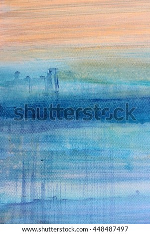 Blue Watercolor on Canvas 6 - stock photo