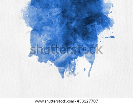 Blue watercolor paint banner with random brushstrokes as a central band over textured white paper with copy space for a design template - stock photo
