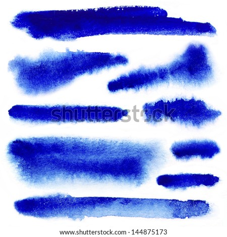 Blue watercolor paint strokes on white background - stock photo