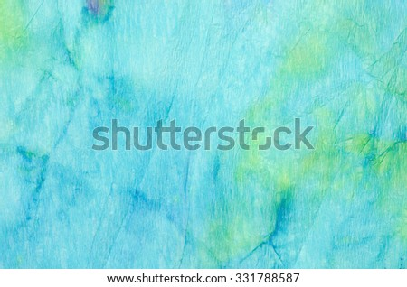 blue watercolor painting on crepe paper background texture - stock photo