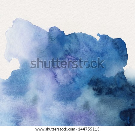 blue watercolor texture on white watercolor paper - stock photo