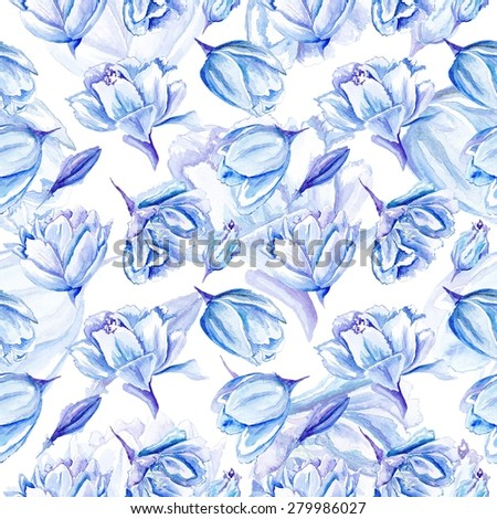 Blue Watercolor Tulip Pattern | Seamless passion floral background with indigo flowers for bedroom textile and wallpaper design, wedding cards and invitations - stock photo