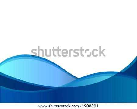 Blue wave against a white background. - stock photo