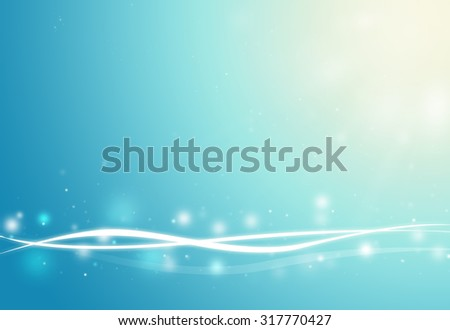 Blue wave and glitter sparkle defocused rays lights bokeh abstract background. - stock photo