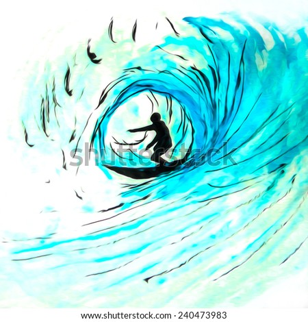 Blue wave surfer, original pen and ink watercolor with digital enhancement            - stock photo