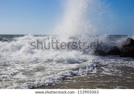 Blue Waves in Calabria, Italy - stock photo