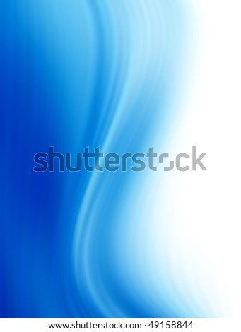 Blue waves over white background. Abstract illustration - stock photo