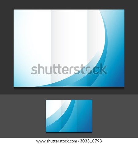 blue waves trifold template illustration design over a grey background - stock photo
