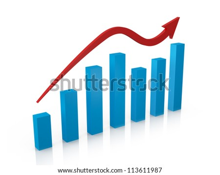 Blue wavy business growth chart and red arrow with reflection on perspective, isolated on white background. - stock photo