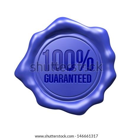 Blue Wax Seal - 100% Guaranteed - stock photo