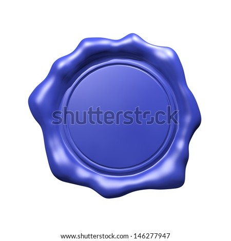 Blue Wax Seal - Isolated - stock photo