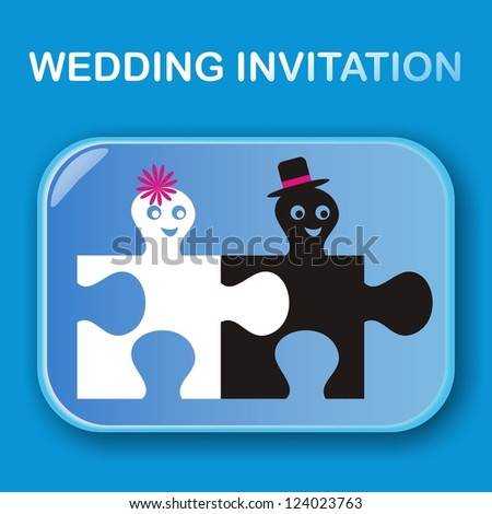 blue wedding invitation with boy and girl - stock photo