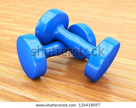 blue weights gym - stock photo