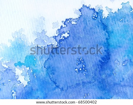 Blue & White Watercolor Background - stock photo