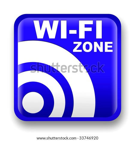 blue wi-fi internet signal to the store and bar - stock photo