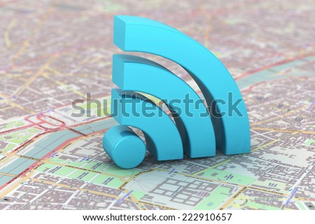 Blue WiFi symbol over a map background - stock photo