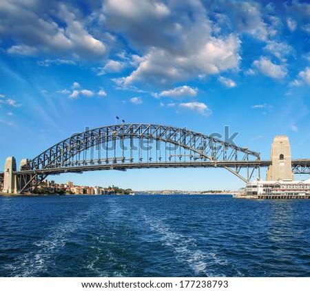 Blue winter sky over Sydney, Australia. The Harbour Bridge. - stock photo