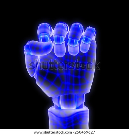 blue wired robotic hand - stock photo