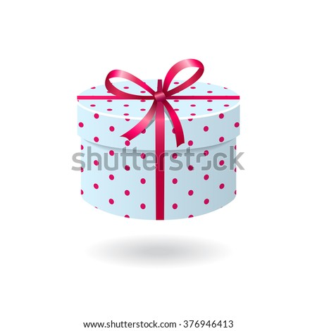 Blue with pink spots gift box isolated on white background - stock photo