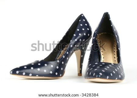 blue with white polka dot pumps - stock photo