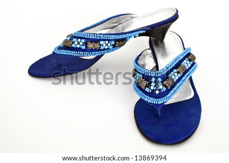 Blue woman shoes - stock photo