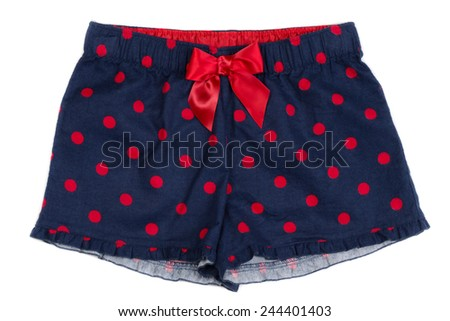 Blue women's panties with red polka dots on white isolate. - stock photo