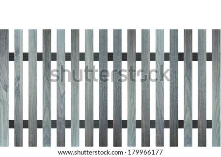 blue wood fence design isolated on white background - stock photo