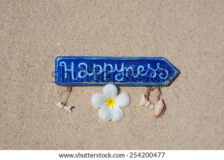 """Blue wooden arrow with the inscription """"Happiness"""" with one frangipani flower and corals on the beach. Top view. Space for text. - stock photo"""