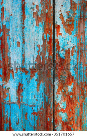 Blue wooden background. Weathered color planks turquoise texture macro - stock photo