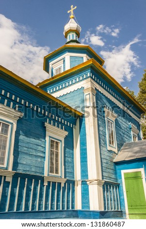 Blue wooden old othodoxy church - Ukraine, Europe. - stock photo