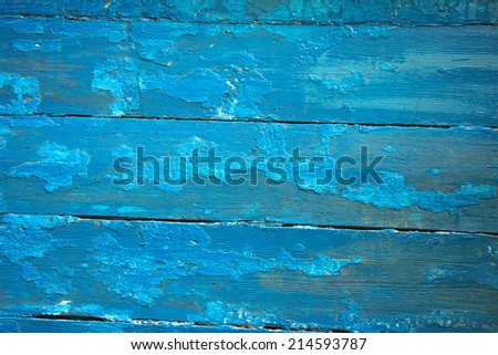 blue wooden planks with peeling old paint, texture - stock photo