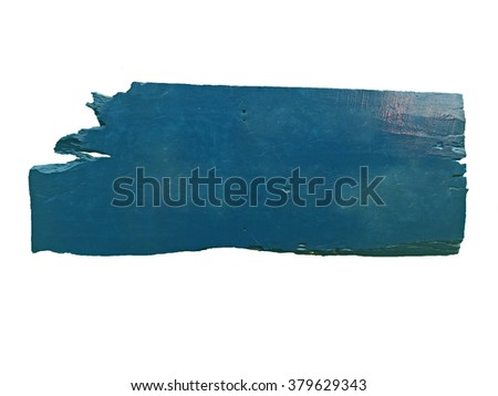 blue wooden sign on the chains on white. - stock photo