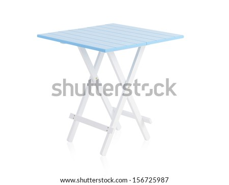 Blue wooden table isolated on white background - stock photo