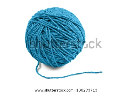 Blue wool yarn ball isolated on white background - stock photo
