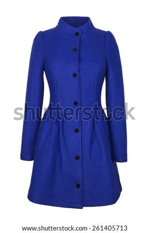 Blue woolen coat - stock photo