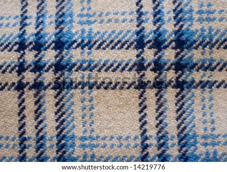 blue woolen plaid background - stock photo