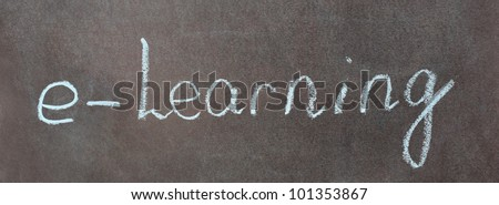 Blue word e-learning isolated on school chalkboard - stock photo