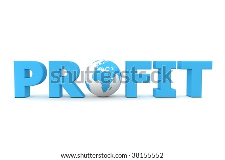 blue word Profit with 3D globe replacing letter O - stock photo