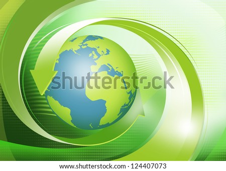 Blue world and green recycling arrows on abstract background - stock photo