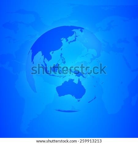 Blue World Globe. Asia and Oceania. - stock photo