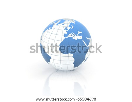 Blue world globe blue glass illustration - stock photo