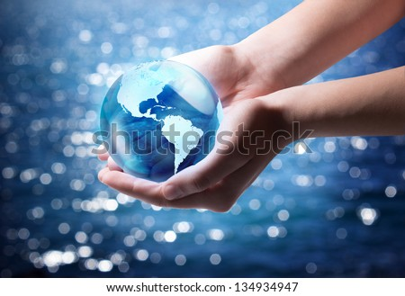 blue world in the hand - Usa - stock photo