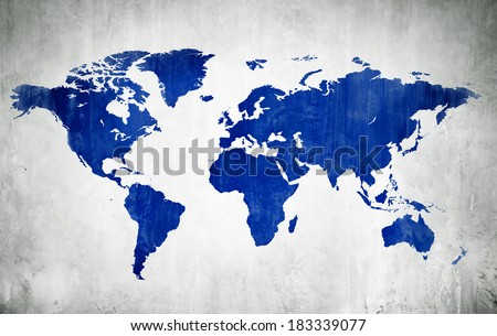 Blue World Map Painting On Concrete - stock photo