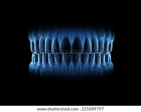 Blue x-ray teeth with close mouth. (on front view) - stock photo