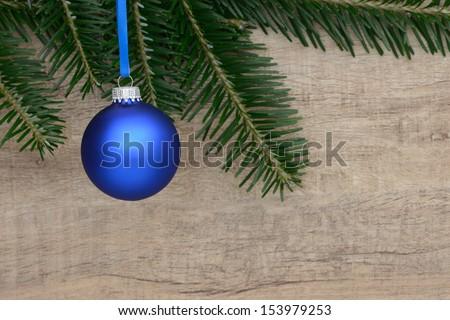 Blue xmas ball - stock photo