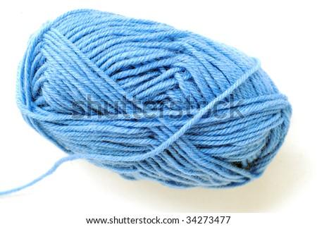 blue yarn isolated over white background - stock photo