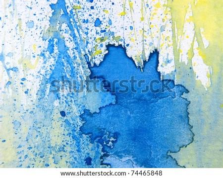 Blue Yellow & White Watercolor Textures 1 - stock photo