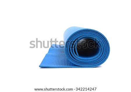 blue yoga mat isolated on white background - stock photo