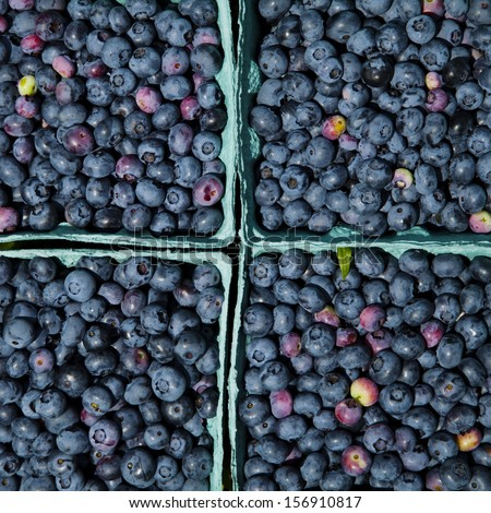 Blueberries in a Pint Containers From the Top Down - stock photo